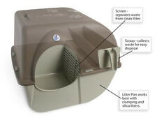 Litter Box Large for Big Cats Multiple Households Self-Cleaning Pewter Outdoor