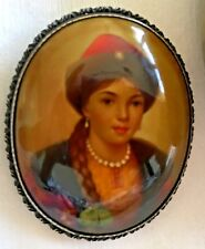 RARE Vintage 80s Hand Painted Russian Brooch Fedoskino Style Portrait  ART Box