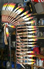 #597 Quality Long Native American Chief Indian headdress feather war bonnet 1sz