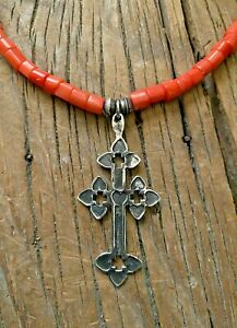 Hand Forged Sterling Silver Heart Cross with Bamboo Coral by Sundance Artist