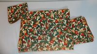 Christmas Placement Napkin Set for 6 Holly Berry Pears Red Green Gold Cloth NEW