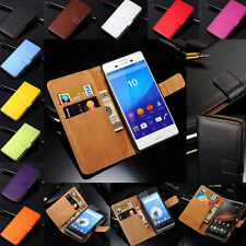 New Genuine Leather Flip Wallet Case Cover Skin For Sony Xperia Series Model