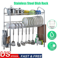 2 Tier Over the Sink Dish Drying Rack Shelf Stainless Steel Kitchen Cutlery ~