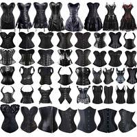 Steampunk Burlesques Basque Black Boned Bustier Overbust Corset Waist Trainer