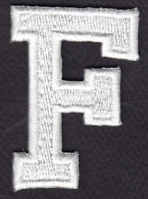 "LETTERS - WHITE BLOCK LETTER ""F"" (1 7/8"") - Iron On Embroidered Applique Patch"