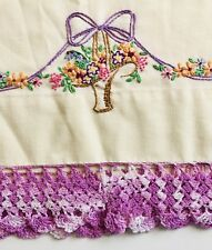 Vintage Embroidered Pillow Case Flower Basket Purple Embroidery Single Case