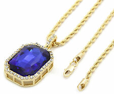 """Men 14k Gold Plated Iced Out Blue Cz Octagon Pendant Hip-Hop 24"""" Rope Chain M3"""