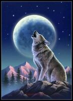 Howling Wolf - Chart Counted Cross Stitch Patterns Needlework DIY DMC Color