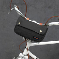 Tourbon Waterproof Canvas Bike Handlebar Pannier Bag Frame Tool Pouch -Black
