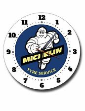 "MICHELIN TYRE SERVICES 250MM/10"" INCHES DIAMETER METAL WALL CLOCK,GARAGE CLOCK."