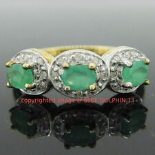 Diamond Not Enhanced Emerald Yellow Gold Fine Rings