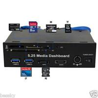 5.25inch PC media dashboard PCI-E port USB 3.0 HUB all in one Card Reader Black