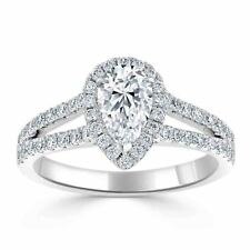 Her Charm Wedding Size 5 6 7 2.00Ct Pear Diamond Anniversary Ring 14K White Gold