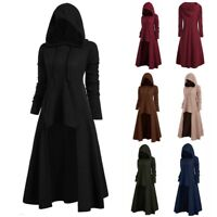 Vintage Womens Fashion Hooded Plus Size Cloak High Low Sweater Blouse Tops Coat