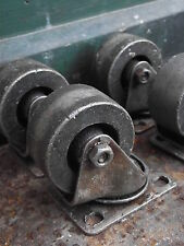 4 Vintage Industrial Style Iron Wheels table furniture coffee trolley legs wheel