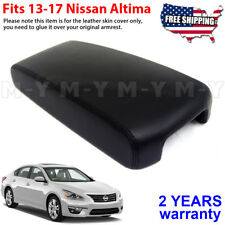 Fits 2013-2017 Nissan Altima Synthetic Leather Console Lid Armrest Cover Black