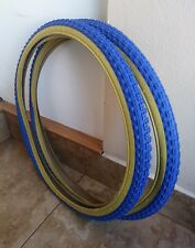 2- Tires Duro 24x1.75 old school style  Blue and Gum Bmx Bike