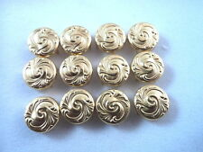 """New listing 12 Round Gold Tone Wave Pattern Studs Clothing Leather Decoration 3/8"""""""