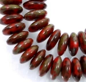 50 Czech Glass Rondelle Beads - Opaque Red - Picasso 6x2mm