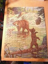 TUCO Deluxe Picture Puzzle TIME TO RETREAT Complete Non-interlocking Bears Cubs