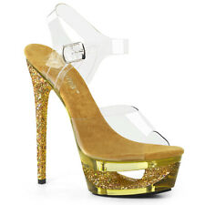Pleaser ECLIPSE-608GT Womens Clear Gold Multi Glitter Tinted Heel Cut Out Sandal