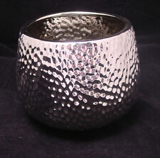 "Modern Reflective All Silver Ceramic Hammered Dimpled Textured Flower Pot 6"" H"