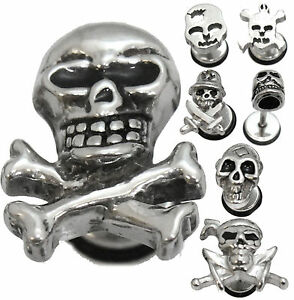 1 Skull Earring Surgical Stainless Steel Stud Body Jewelry Mens Silver Tone Gift