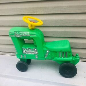 """vtg tractor green empire blow mold sit n ride child toy 20""""W"""