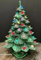 "Vtg 2 Piece Ceramic Lighted Christmas Tree MCM Starburst Bulbs 19"" Byron 1976"