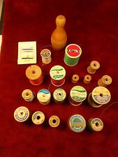 LOT OF NOS OLD VTG MOSTLY WOOD SPOOLS & THREADS, COATS & CLARKS, TG&Y, LILY+++++