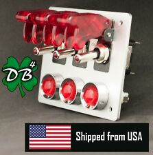 3 Aircraft Style Covered Toggle Switch Panel, Aluminum  Red LED Lights