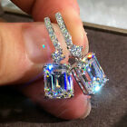 Gorgeous 925 Silver White Sapphire Drop Earrings Wedding Party Women Jewelry
