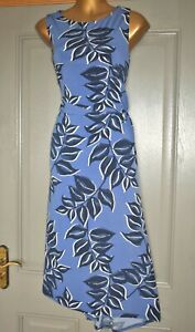 MONSOON BLUE MULTI FLORAL PRINT FORMAL OCCASION PARTY DRESS SIZE 14 BNWT