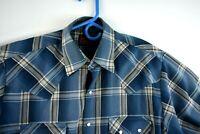 Plains Mens Western Shirt Size Medium Blue Plaid Pearl Snap Long Sleeve