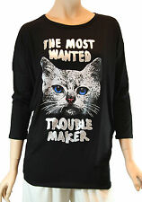 Ladies 3/4 Sleeve Black Round Neck Cat Print Top Medium Size M