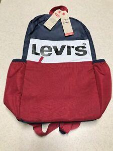 Levi's Big Bold Logo Block Laptop Backpack, Blue/Red School
