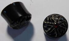 17mm carved horn and garnet design horn plug