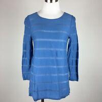 Ann Taylor Loft Womens Stretch Knit Top SP Blue Sheer Stripes 3/4 Sleeves Scoop