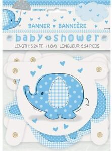 UNIQUE - BABY SHOWER JOINTED BANNER - 5FT - BLUE ELEPHANT