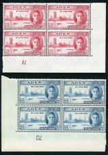 Aden SG28/9 1946 Victory Plate Blocks of Four M/M