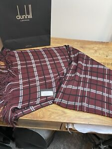 Dunhill Scarf Knitted Wool Blend Check Burgundy BNWT Made In Italy  £125