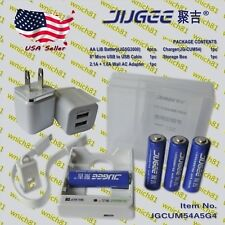 JUGEE 4pcs 1.5V 3000mWh / 1000mWh AA / AAA Lithium Li-Ion Rechargeable Batteries