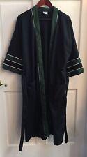 Vtg PURITAN Mens Wrap Around Robe w/Tie 1 Size USA Made Blue W Green White TrimV