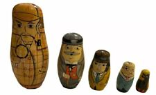 Authentic Models   Wooden Matryoshka Russian Nesting Doll   5 Pieces   Excellent