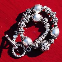 "925 Sterling silver bead bracelet heavy 7.75"" vintage handmade 20.1gr"
