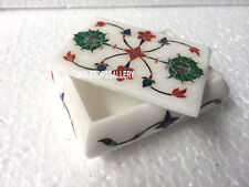 "4""x3""x2'' White Marble Jewelry Box Multi Art Inlay Hallway Mosaic Art Gift H3525"