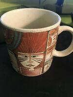"Laurel Burch ""Primordial Dream"" Coffee Mug Cup Egypt Motif 1990 Japan"
