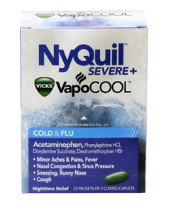 NyQuil SEVERE+ Vicks VapoCOOL Cold Flu 25 Packets 2 Coated Caplets Acetaminophen