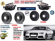 para Audi S5 4.2 Coupe 11-17 DELANTERO Y Trasero Rendimiento Juego discos freno