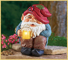 Garden Gnome Statue w/ Solar Lighted Beer Mug Patio Yard Ornament Outdoor Decor